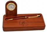 Porta pluma o abrecartas con reloj